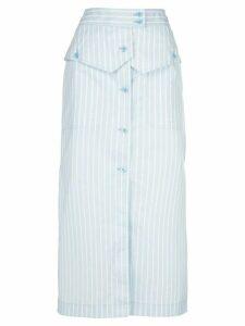 Sies Marjan Jacquetta striped button-front midi skirt - Blue