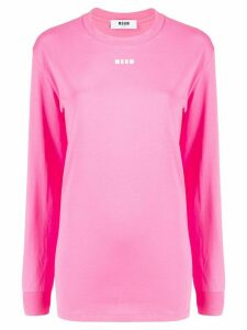 MSGM logo-print long-sleeve T-shirt - PINK