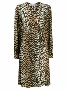 GANNI leopard print midi dress - Black