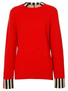 Burberry Icon Stripe trim cashmere jumper - Red