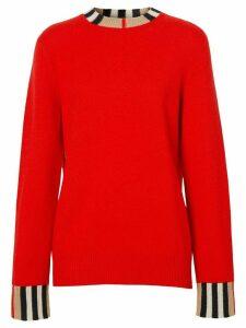 Burberry Icon Stripe trim cashmere jumper - Red