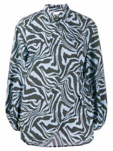 GANNI zebra print blouse - Blue