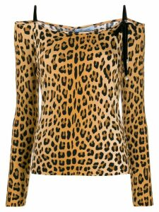 Blumarine off-shoulder leopard print top - Brown
