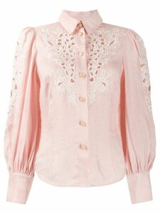 Zimmermann puffed sleeve cut out detail shirt - PINK