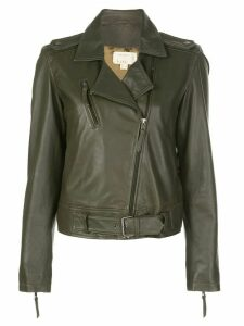 Nicole Miller off-centre zipped jacket - Green