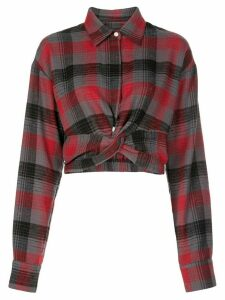Haculla Bonez plaid-print cropped shirt - Red