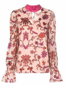 Nicole Miller choker floral blouse - PINK