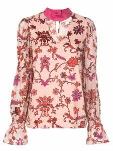 Nicole Miller choker floral blouse - PINK