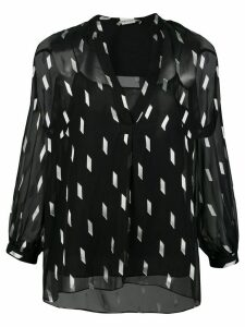 Alice+Olivia Sheila sheer sleeve blouse - Black