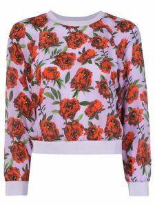Alice+Olivia Calvin rose-print sweatshirt - PURPLE