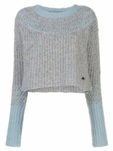 Raquel Allegra two tone crop sweater - Blue