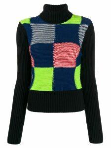 Victoria Beckham patchwork knitted jumper - Blue