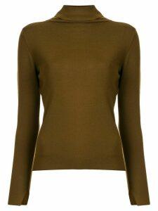 Des Prés fine knit roll neck jumper - Green