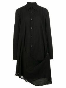 Y's chiffon-panelled longline shirt - Black