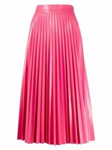 Mm6 Maison Margiela glossy-effect pleated midi skirt - PINK