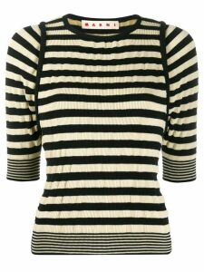 Marni striped rib-knit top - Black