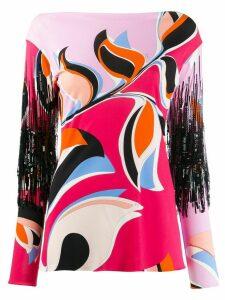 Emilio Pucci patterned fringe detail blouse - PINK