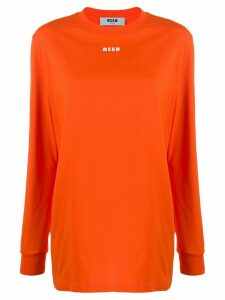MSGM logo-print long-sleeve T-shirt - ORANGE