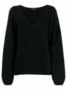 Theory V-neck long sleeve knitted top - Black