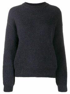 Closed long-sleeve ribbed jumper - Blue