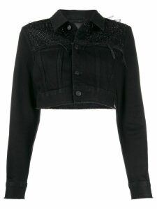Diesel embellished cropped denim jacket - Black