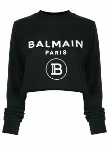 Balmain logo-print cropped sweatshirt - Black
