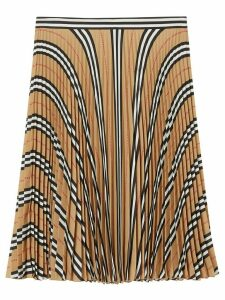 Burberry Icon stripe pleated checkered skirt - NEUTRALS