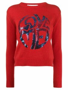 Alberta Ferretti Love Me! sequinned jumper - Red