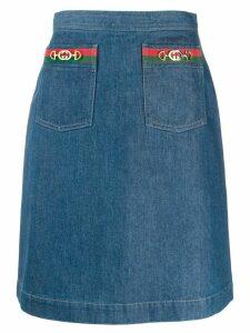 Gucci Web double pocket denim skirt - Blue