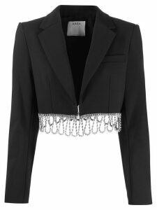 AREA embellished hem cropped jacket - Black