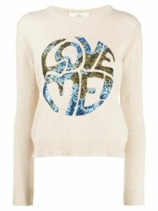 Alberta Ferretti Love Me! sequinned jumper - NEUTRALS