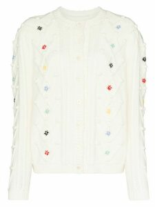 Shrimps McCoy flower stitched cardigan - NEUTRALS