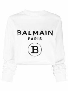 Balmain logo cropped sweatshirt - White