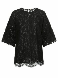 Adam Lippes short bell-sleeved lace top - Black