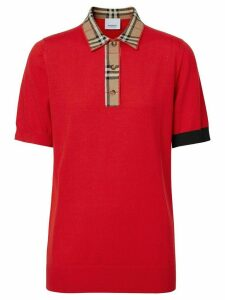 Burberry Vintage check trim polo shirt - Red