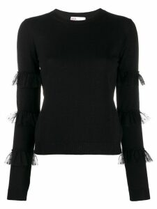 Red Valentino tulle-embellished knitted top - Black