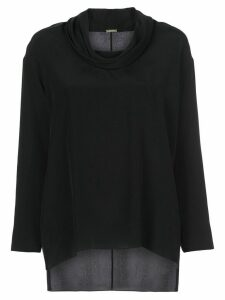 Adam Lippes cowl-neck crepe de Chine top - Black