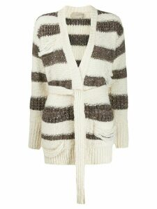 Maison Flaneur striped belted cardigan - NEUTRALS