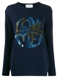 Alberta Ferretti long sleeve Love Me jumper - Blue