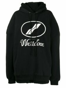 We11done logo drawstring hoodie - Black