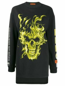 Heron Preston skull flame print top - Black