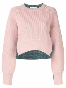 T By Alexander Wang cropped two-tone jumper - PINK