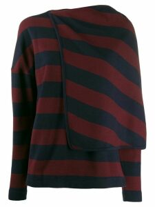 Chalayan striped draped cape jumper - Red