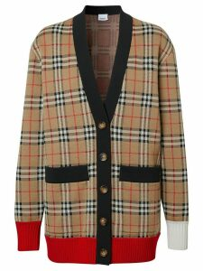 Burberry check wool blend cardigan - NEUTRALS