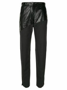 System panelled high-waisted trousers - Black