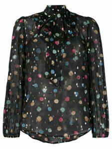 Rixo Moss dot-print chiffon blouse - Black