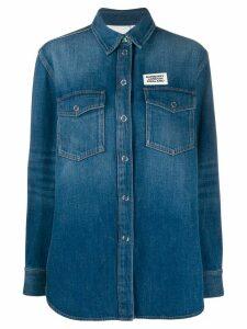 Burberry logo appliqué denim shirt - Blue