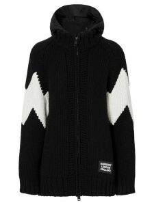 Burberry detachable hood zipped cardigan - Black