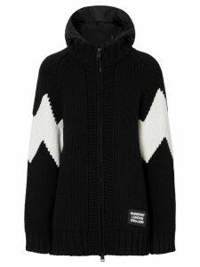 Burberry detachable hood zipped cardigan - Black