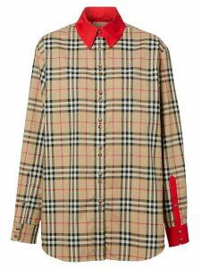 Burberry contrast trims Vintage Check shirt - NEUTRALS